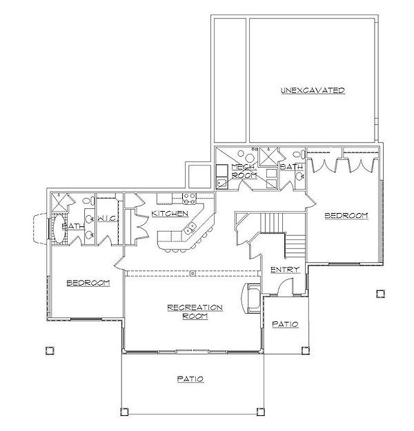 Bungalow Floor Plan - Lower Floor Plan Plan #5-377