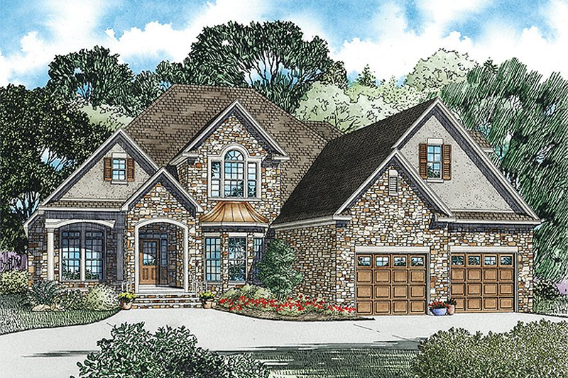European Style House Plan - 3 Beds 3 Baths 3202 Sq/Ft Plan #17-2447 Exterior - Front Elevation