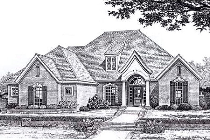 European Style House Plan - 4 Beds 2.5 Baths 2501 Sq/Ft Plan #310-835 Exterior - Front Elevation