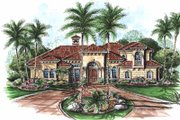 Mediterranean Style House Plan - 4 Beds 4.5 Baths 3908 Sq/Ft Plan #27-236 Exterior - Front Elevation
