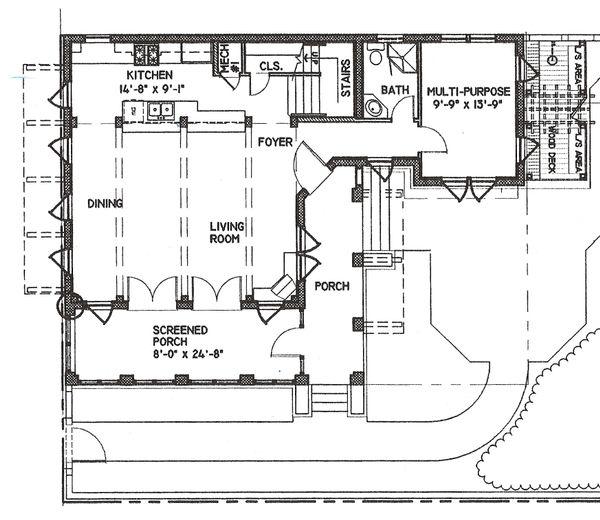 Beach Style House Plan - 3 Beds 4 Baths 2590 Sq/Ft Plan #536-5 Floor Plan - Main Floor Plan