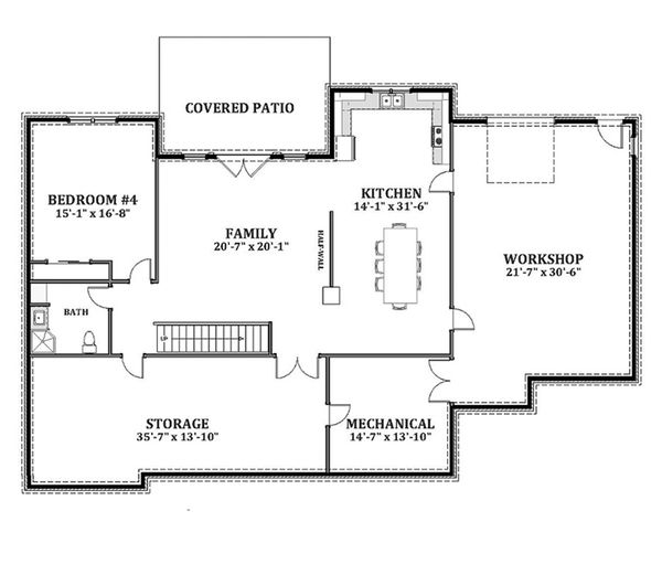 Craftsman Floor Plan - Lower Floor Plan Plan #898-11