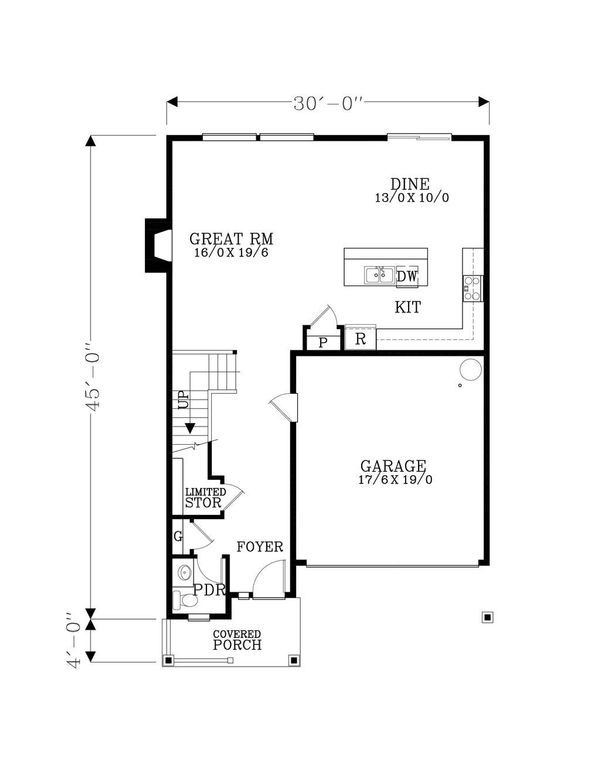 Craftsman Floor Plan - Main Floor Plan Plan #53-474