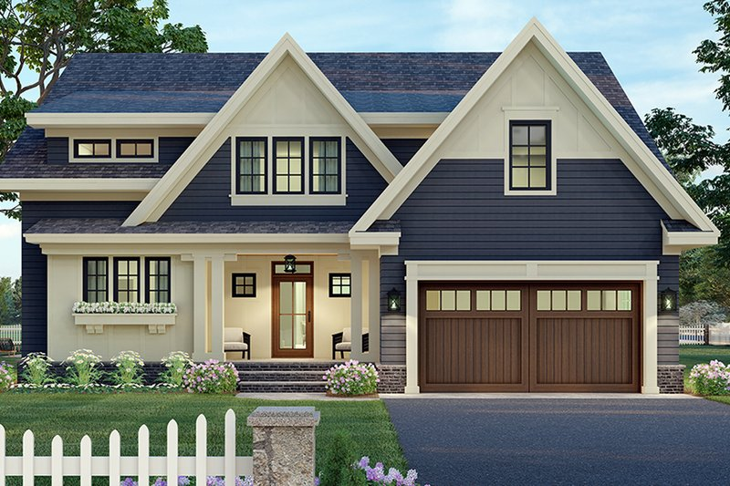 Architectural House Design - Craftsman Exterior - Front Elevation Plan #51-1173