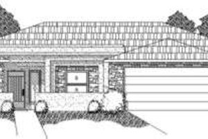 Adobe / Southwestern Exterior - Front Elevation Plan #24-212