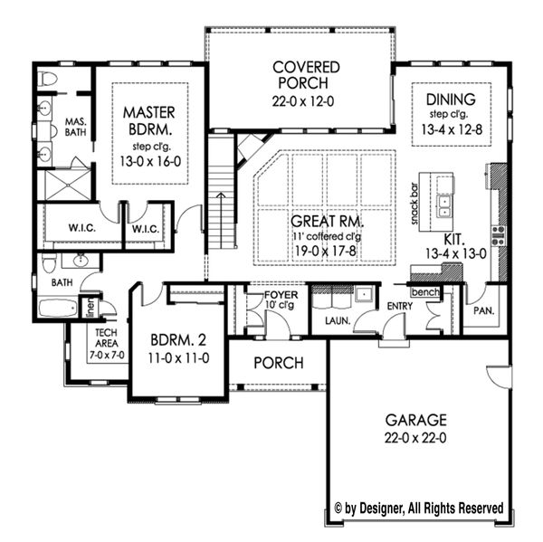 Ranch Floor Plan - Main Floor Plan Plan #1010-207