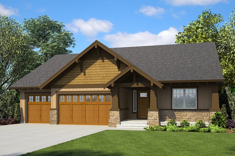 Architectural House Design - Ranch Exterior - Front Elevation Plan #48-947