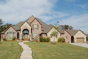 European Style House Plan - 4 Beds 4.5 Baths 4047 Sq/Ft Plan #310-628 Exterior - Front Elevation