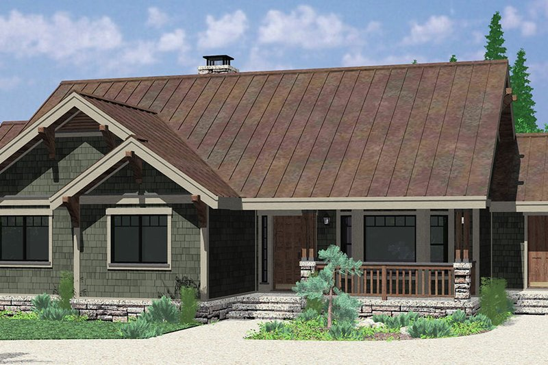 Bungalow Style House Plan - 3 Beds 2 Baths 1722 Sq/Ft Plan #303-441 Exterior - Front Elevation