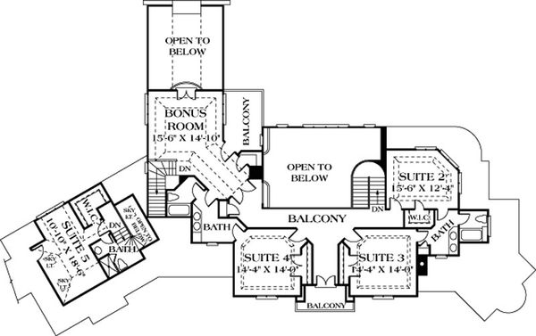 European Floor Plan - Upper Floor Plan Plan #453-46