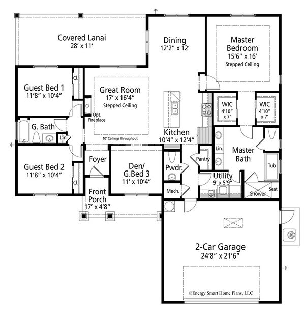 Craftsman Floor Plan - Main Floor Plan Plan #938-95