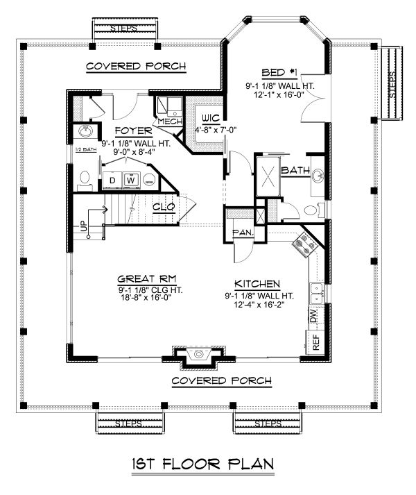 Craftsman Floor Plan - Main Floor Plan Plan #1064-15