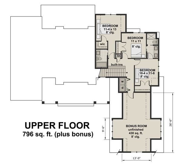 Farmhouse Floor Plan - Upper Floor Plan Plan #51-1130