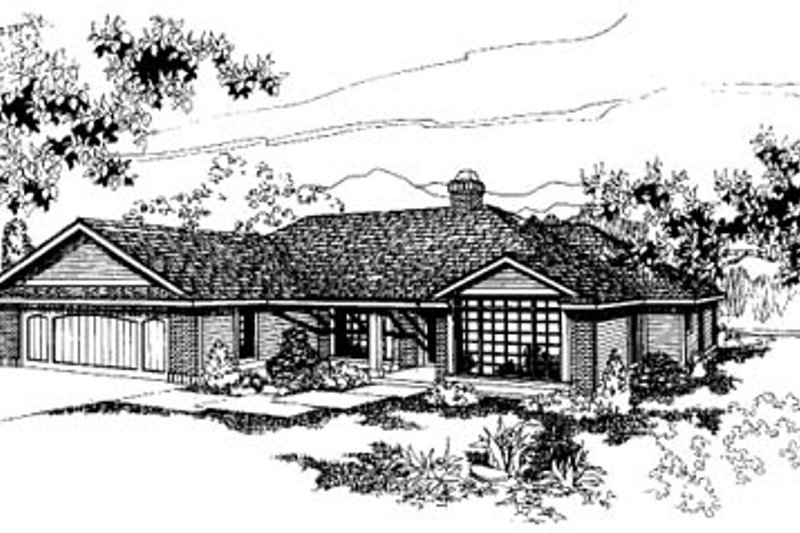 Ranch Exterior - Front Elevation Plan #60-137 - Houseplans.com