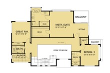 Contemporary Floor Plan - Upper Floor Plan Plan #1066-44