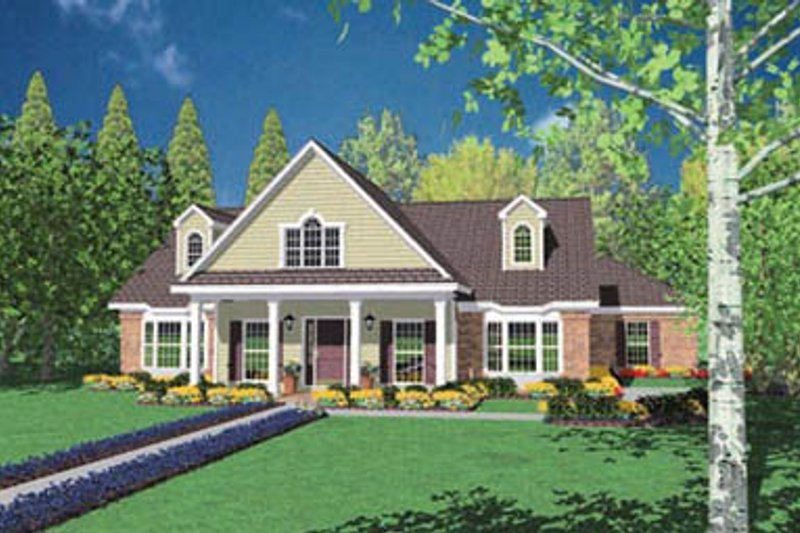 Traditional Style House Plan - 3 Beds 2.5 Baths 2537 Sq/Ft Plan #36-218 Exterior - Front Elevation