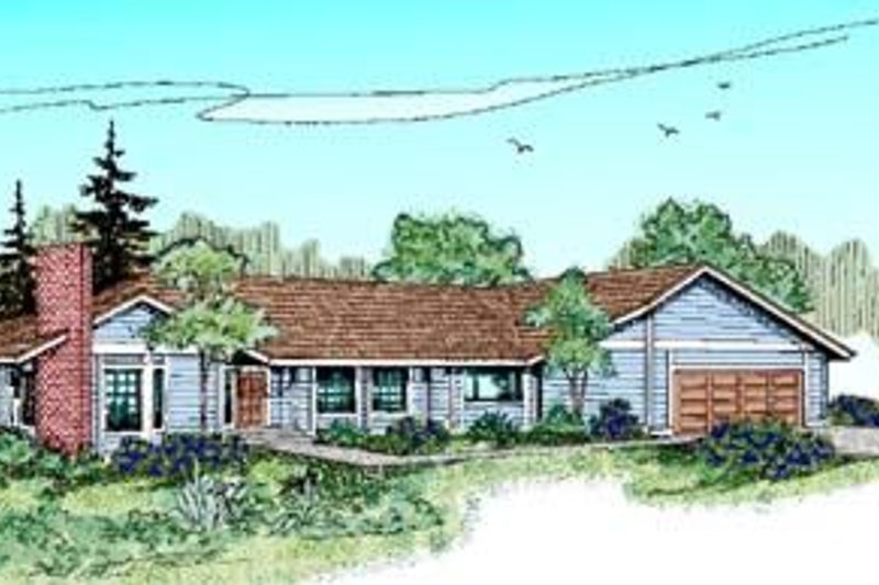 Ranch Style House Plan - 2 Beds 2 Baths 1503 Sq/Ft Plan #60-374 Exterior - Front Elevation
