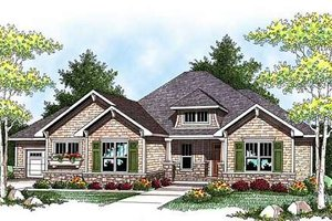 Craftsman Exterior - Front Elevation Plan #70-918