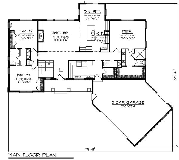 Ranch Floor Plan - Main Floor Plan Plan #70-1480