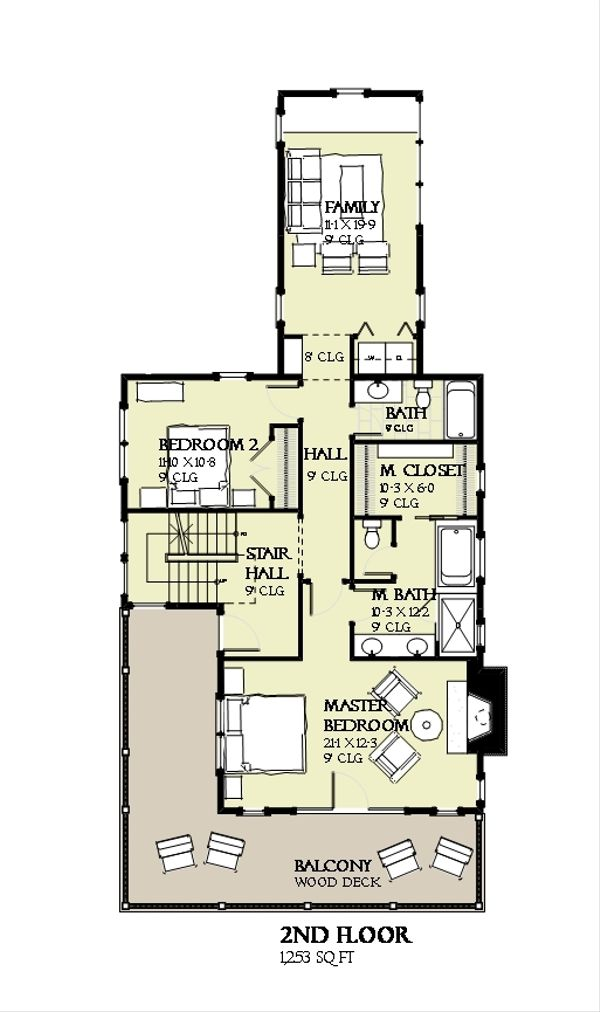 Beach Floor Plan - Upper Floor Plan #901-120