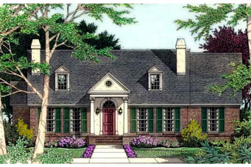 Architectural House Design - Colonial Exterior - Front Elevation Plan #406-191