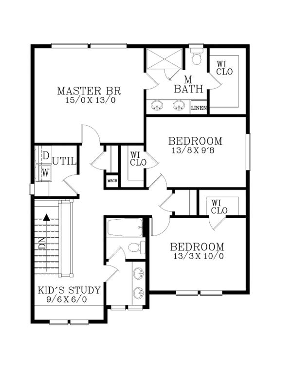 Craftsman Floor Plan - Upper Floor Plan #53-459