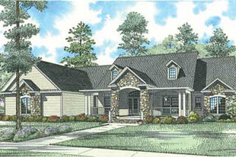 Ranch Style House Plan - 4 Beds 3.5 Baths 3602 Sq/Ft Plan #17-1166 Exterior - Front Elevation