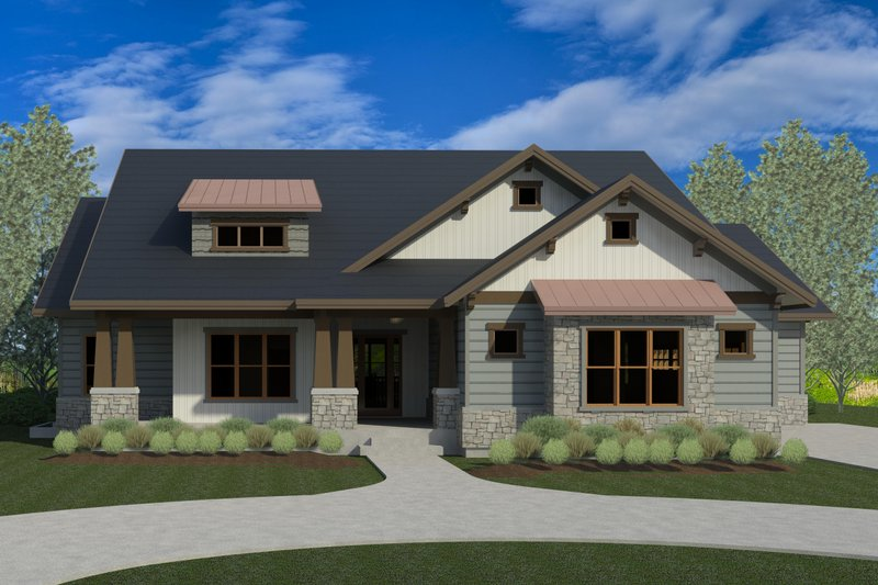 Craftsman Style House Plan - 4 Beds 4 Baths 4826 Sq/Ft Plan #920-33 Exterior - Front Elevation