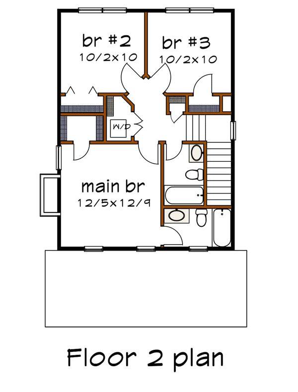 Craftsman Floor Plan - Upper Floor Plan #79-313