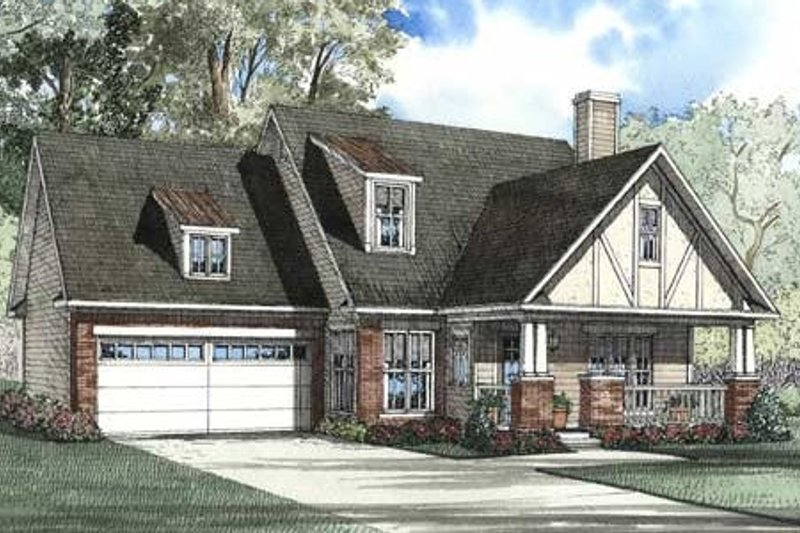 Tudor Style House Plan - 3 Beds 2.5 Baths 1906 Sq/Ft Plan #17-2076 Exterior - Front Elevation