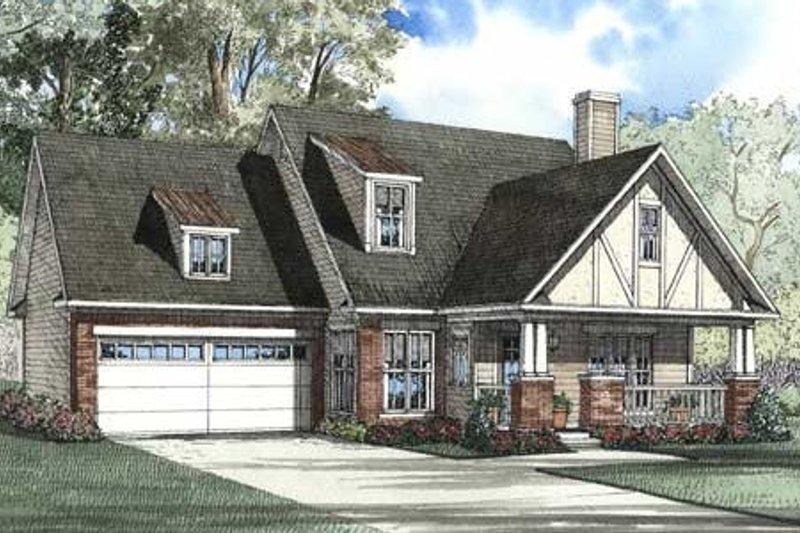 Dream House Plan - Tudor Exterior - Front Elevation Plan #17-2076