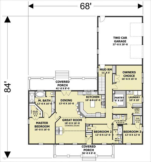 Dream House Plan - Craftsman Floor Plan - Main Floor Plan #44-241