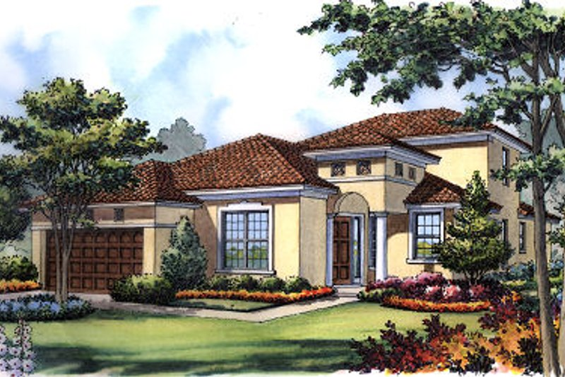 European Style House Plan - 4 Beds 3 Baths 1894 Sq/Ft Plan #417-211 Exterior - Front Elevation