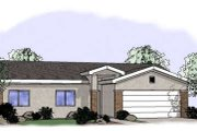 Adobe / Southwestern Style House Plan - 3 Beds 2 Baths 1229 Sq/Ft Plan #24-242 Exterior - Front Elevation