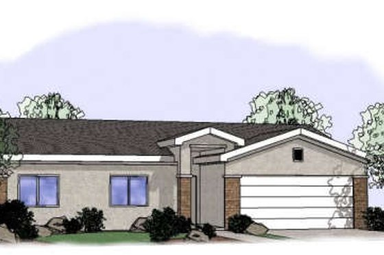 Adobe / Southwestern Exterior - Front Elevation Plan #24-242
