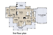 Farmhouse Style House Plan - 4 Beds 3.5 Baths 2829 Sq/Ft Plan #120-266 Floor Plan - Main Floor Plan