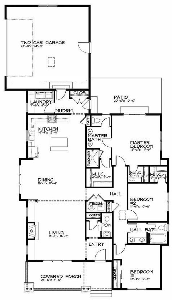 Bungalow Floor Plan - Main Floor Plan Plan #434-6