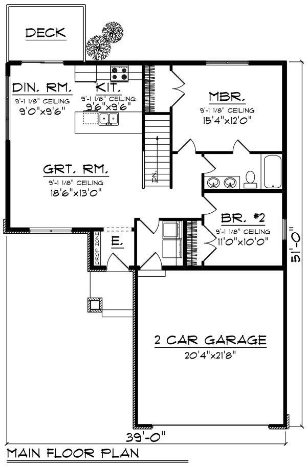 Craftsman Floor Plan - Main Floor Plan #70-1257