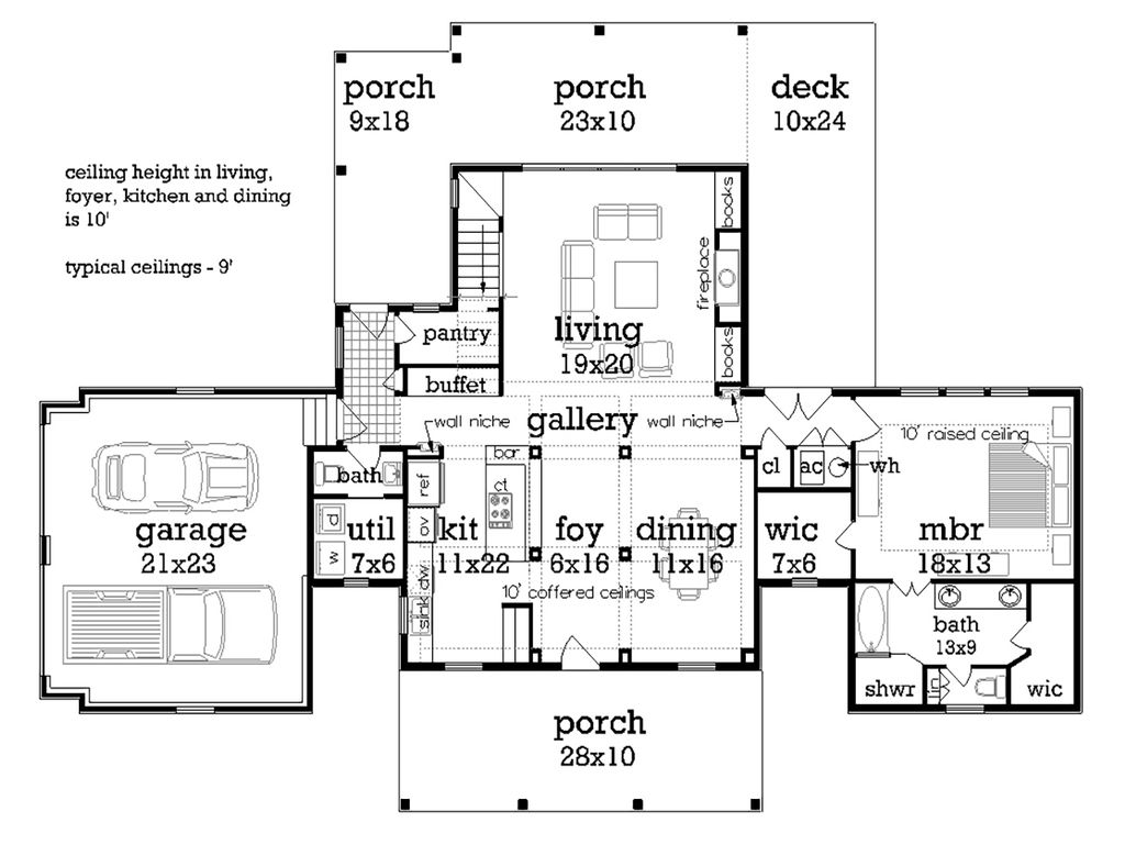 Traditional style house plan 3 beds 3 baths 2150 sq ft for 380 square feet floor plan