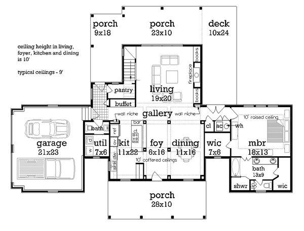 Home Plan - Traditional Floor Plan - Main Floor Plan #45-380
