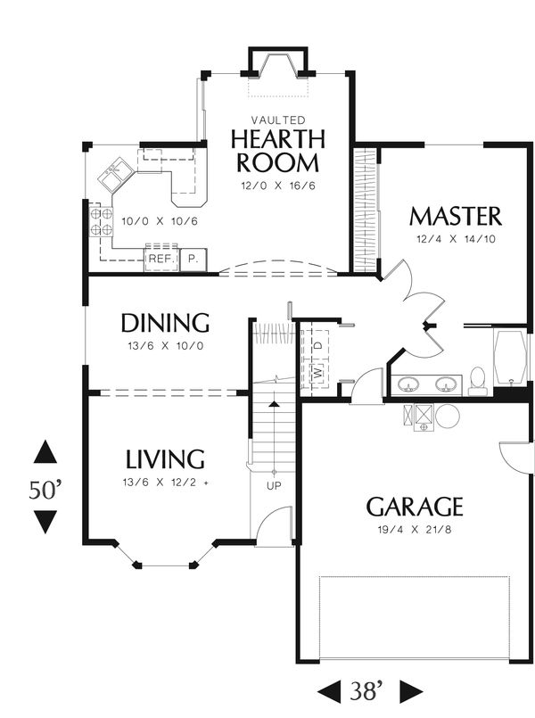 Craftsman Floor Plan - Main Floor Plan Plan #48-536