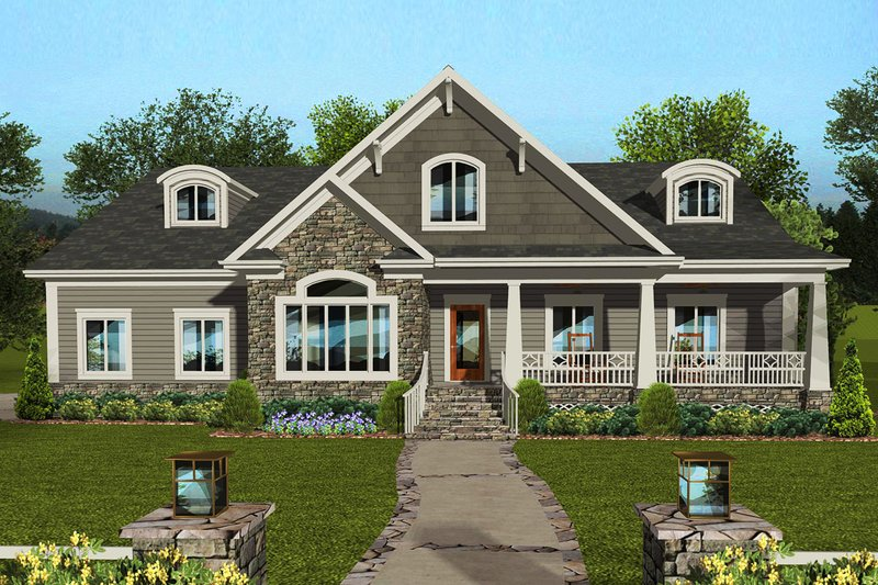 Craftsman Style House Plan - 4 Beds 3 Baths 2099 Sq/Ft Plan #56-711 Exterior - Front Elevation