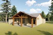 Adobe / Southwestern Style House Plan - 3 Beds 2 Baths 1619 Sq/Ft Plan #126-172 Exterior - Rear Elevation
