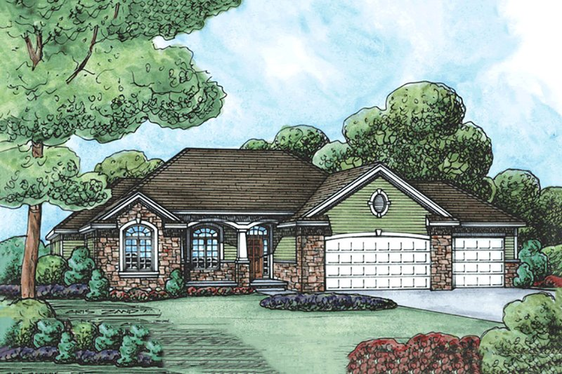 Traditional Exterior - Front Elevation Plan #20-2120 - Houseplans.com