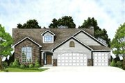 Traditional Style House Plan - 3 Beds 2 Baths 1461 Sq/Ft Plan #58-178 Exterior - Front Elevation