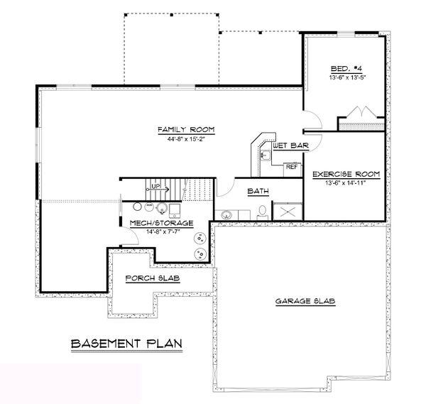 Craftsman Floor Plan - Lower Floor Plan #1064-62