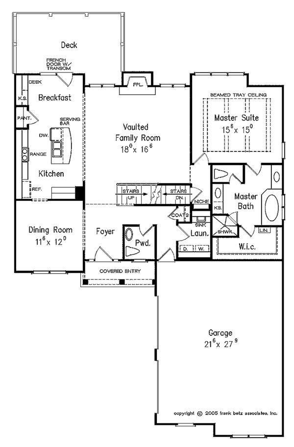 Traditional Floor Plan - Main Floor Plan #927-42