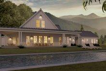 White modern farmhouse - rear elevation