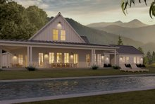 White modern farmhouse - rear elevation