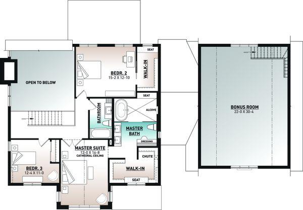 Craftsman Floor Plan - Upper Floor Plan #23-2743